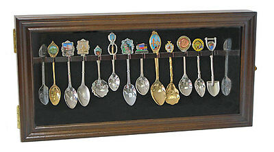 12 Souvenir Spoons Shadow Box Cabinet Rack Wall Display Case  (SP12-WALN)