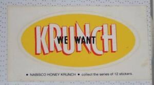 Retro Sticker -  We Want Krunch - Nabisco Honey Krunch