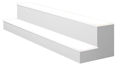 24 2 Tier Led Lighted Liquor Display Shelf - White Finish