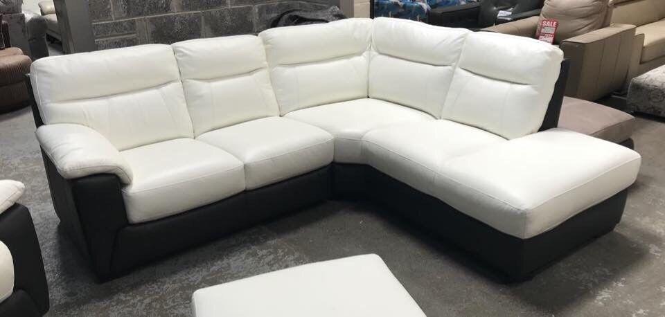 Dfs White And Black Leather Corner Sofa In Pontardawe Swansea Gumtree