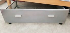 Quality Under Bed Silver Storage Box on Wheels
