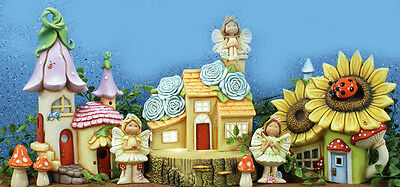 "Ceramic Bisque Ready to Paint ""Fairy Garden Village"" Brand New ~lighted~"