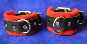 Leather-wrist-cuffs-restraint-set-w-connector-Red-suede-other-colors-avail