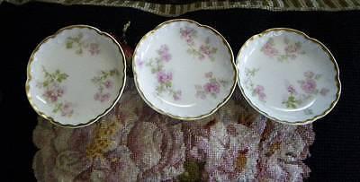 3 Antique Haviland Limoges Butter Pats~Pink Roses & Gold~Scalloped