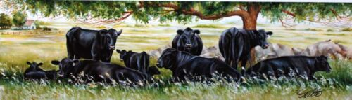 Small Cattle Cows Black Angus Pastures Art Print Landscape Picture Toni Grote