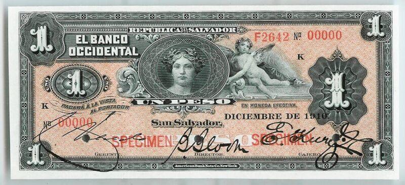 1910 EL SALVADOR PESO SPECIMEN BANK OCCIDENTAL NOTE CHOICE UNC P #S172s