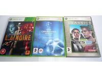 3 x XBOX 360 Games: Proevolution Soccer, UEFA Champions League 2006/07,L.A.Noire