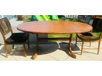 G plan Oval Teak dining table and two chairs