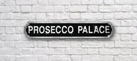 Brand New Large Prosecco Palace Silver Glitter Road Sign