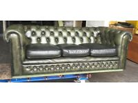 Green leather 3 seat Chesterfield sofa WE DELIVER UK WIDE