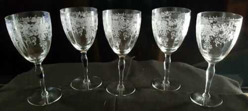 "Vintage Lotus ""Dresden""  Etched Crystal Stemware Glasses Set of 5"