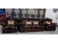 Refurbed Winchester Chesterfield 3 Seater Sofa & 2 Chairs in Oxblood Leather - UK Delivery