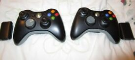 Microsoft Xbox 360 Two Black Wireless Controllers with Black battery backs