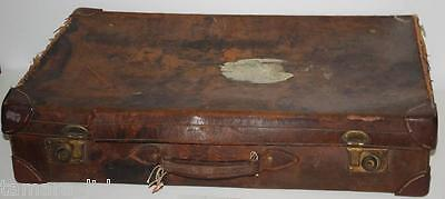 ANTIQUE BROWN LEATHER SUITCASE Early 1900s Finnigan Maker   WITH INITIALS  W.T.C