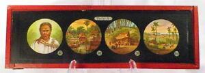Antique-Glass-Slide-Indonesian-Man-Tatoo-Temple-Magic-Lantern-Tafel-X-1880-AS-IS