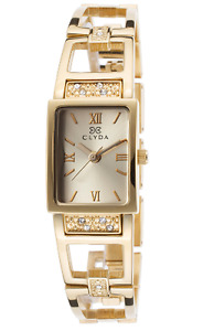 Women's Gold-Tone Stainless Steel and Rectangle Case Crystal Acc