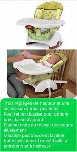 Balançoire, bain grenouille, chaise haute