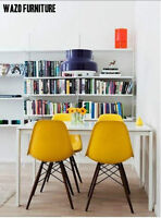 chaises eames, chairs, eiffel, jaune, yellow, walnut legs