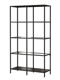 3x Black steel shelving units with Glass shelves from IKEA number 202.133./12