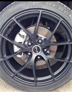 "4X 18"" - 5x114.3 BLACK WHEELS & TIRES / HONDA CIVIC"
