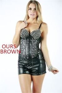 NEW OH YES TOPS WOMEN'S MED-Brown bustier