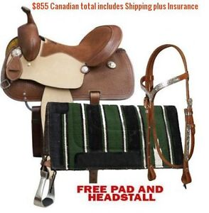"14"" 15"" 16"" Western Barrel Racing Saddles $747 Leather FULL Bars London Ontario image 3"