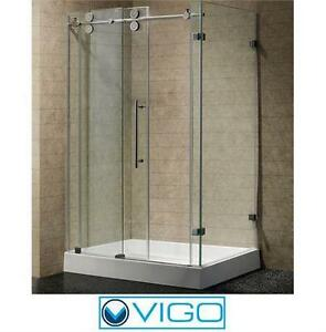 "NEW* VIGO 36""x48"" SHOWER ENCLOSURE FRAMELESS STALL CLEAR STAINLESS STEEL  - BATHROOM SHOWERS STALLS ENCLOSURES  81758342"