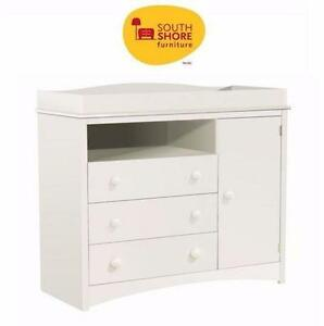 "NEW SOUTH SHORE CHANGING TABLE PURE WHITE FINISH BABY INFANT NURSERY FURNITURE - 47""L X 20""W X 41""H  90687774"