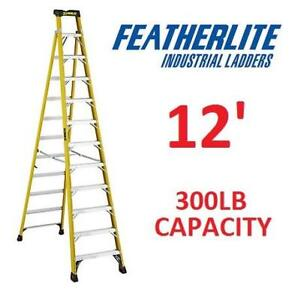 NEW* FEATHERLITE CROSS STEP LADDER FXS6912 211388609 12' 300LB LOAD CAPACITY
