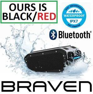 NEW OB BRAVEN BT SPEAKER BUNDLE   PORTABLE HD BLUETOOTH WIRELESS SPEAKER W/ SOLAR CHARGING PANEL - BLACK/RED  86435628
