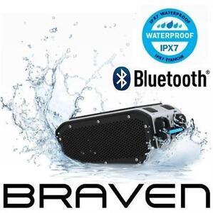 REFURB BRAVEN BLUETOOTH SPEAKER PORTABLE HD BLUETOOTH WIRELESS SPEAKER - SILVER/BLACK 98202646