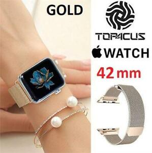 NEW TOP4CUS APPLE WATCH STRAP 42MM 233212390 GOLD MILANESE LOOP STAINLESS STAIN REPLACEMENT COMPATIBLE APPLE SMART WATCH