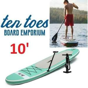 NEW TEN TOES 10' SUP PADDLE BOARD 2594 181483343 STAND UP PADDLE BOARD NFLATABLE W/PUMP SEAFOAM