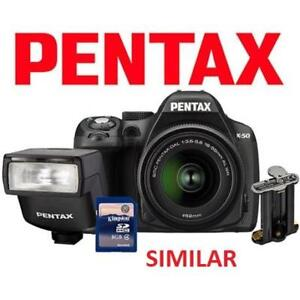 OB PENTAX K-50 DSLR CAMERA KIT K-50 207193289 16MP 18-55MM LENS AF200 FLASH BATTERY HOLDER 16GB SD CARD DIGITAL BLACK...