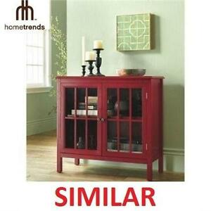 NEW HOMETRENDS GLASS DOOR CABINET TEMPERED ACCENT CABINET - HOME - BATH - STORAGE - RED 105928383
