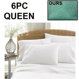 """NEW 6PC LUSSO QUEEN SHEET SET 222704425 LUSSO LINENS LUXURY 1000 BEDDING FITS UP TO  16"""" DEEP MATTRESS"""