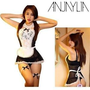 NEW ANJAYLIA Women Lace French Maid Costume Sexy Lingerie Set OS  BLACK/WHITE COSPLAY Valentines COSTUME