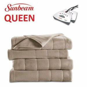 NEW SUNBEAM HEATED BLANKET ULTRA SOFT MICROPLUSH - SAND HOME TEXTILES BEDDING LINEN QUILT BED BLANKETS 93765362