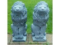 A pair of lion concrete ornaments
