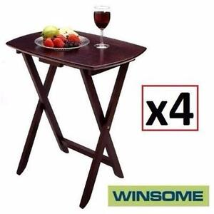 4 NEW WINSOME SINGLE TV TABLES   ESPRESSO FINISH - SOLID WOOD - SET OF 4 - HOME ENTERTAINMENT FURNITURE 99600169