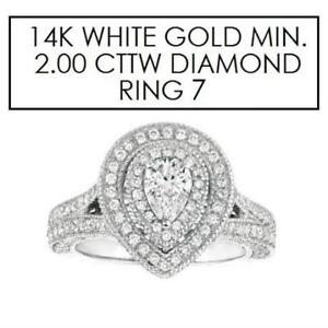 NEW* STAMPED 14K DIAMOND RING 7 143911609 JEWELLERY JEWELRY 14K WHITE GOLD 2.00 CTW DIAMOND