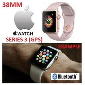 OB APPLE WATCH SERIES 3 38MM MQKW2LL/A 201107046 GPS GOLD ALUMINUM CASE W/PINK SAND SPORT BAND OPEN BOX