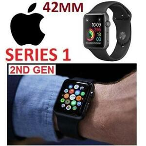 RFB APPLE WATCH SERIES 1 42MM MP032LL/A 178175828 SPACE GREY ALUMINUM CASE W/BLACK SPORT BAND GEN 2 REFURBISHED
