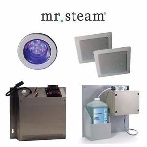 NEW MR STEAM iSPA PACKAGE 4-PACK AROMASTEAM SYSTEM, MOOD LIGHTING AUDIO WIZARD SOUND SPA THERAPY BATH 92395205