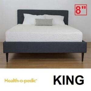 "NEW HEALTH-O-PEDIC MEMORY MATTRESS 654-073 139176373 KING 8"" COOLING GEL FOAM BED BEDS MATTRESSES BEDROOM BEDDING"