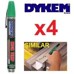 4 NEW DYKEM HIGH TEMP GREEN MARKERS 44266 229824485 HEAT RESISTANT PAINT PEN METAL GLASS CERAMICS LAB GARAGE MARKING ...