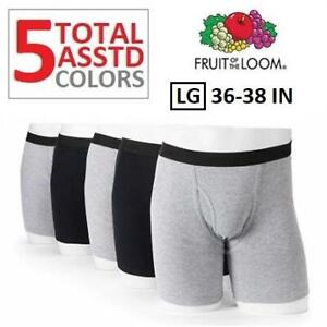 NEW 5PK BOXER BRIEFS MENS LG 256295045 FRUIT OF THE LOOM SIGNATURE BLACK GRAY