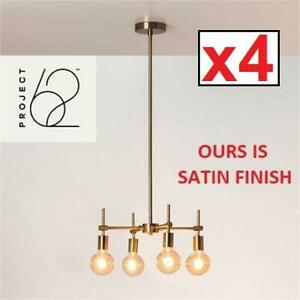4 NEW 4 LIGHT BULBS CHANDELIER 07406-2443 246160246 PROJECT 62 MENLO MULTI HEAD GLASS GLOBE CEILING SATIN FINISH