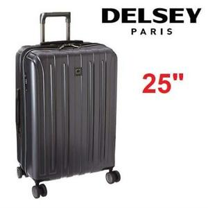 "NEW DELSEY SPINNER LUGGAGE 25"" 07647PL 223538988 PARIS HELIUM AERO EXPANDABLE TROLLEY BAG  TITANIUM"