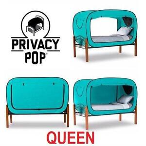 NEW PRIVACY POP BED TENT QUEEN - 109378808 - TEAL - TENT, 4 POLES,  1 CARRYING BAG - BED  BED FRAME SOLD SEPERATELY